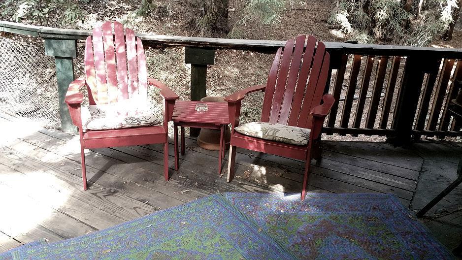 redwood treehouse outside patio