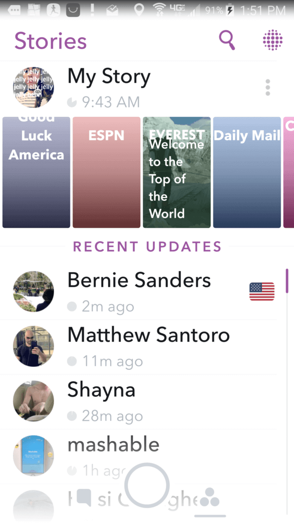 snapchat june 2016 update stories screen