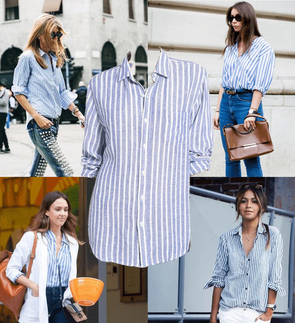 Striped white and blue shirt trend