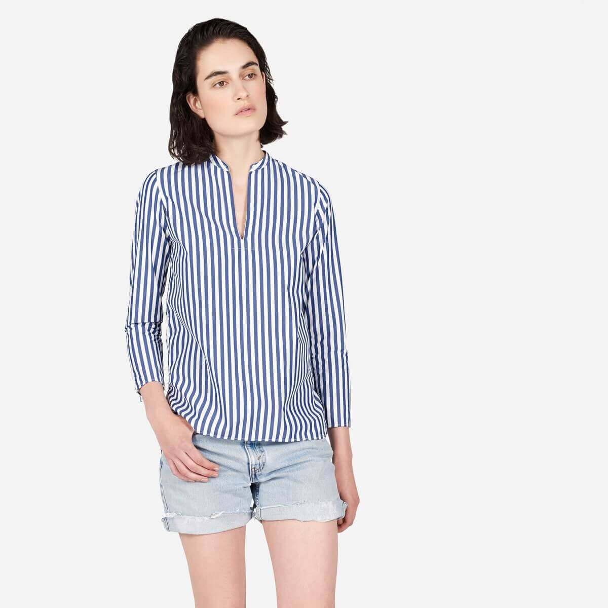 Everlane white and blue striped long sleeve shirt