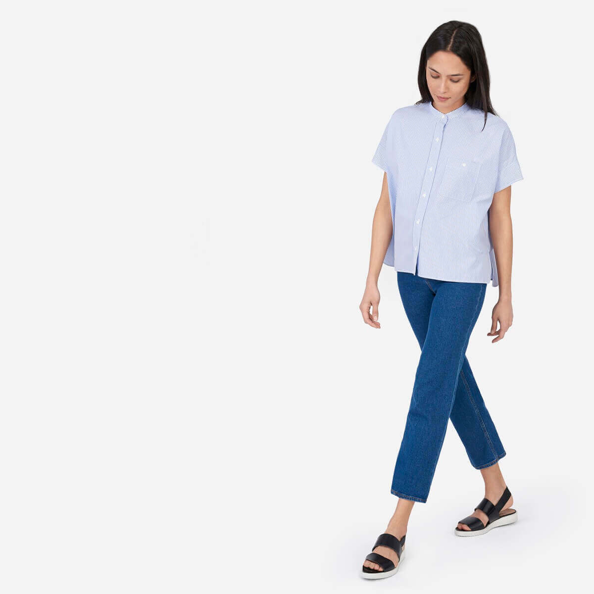Everlane boxy white and blue striped shirt