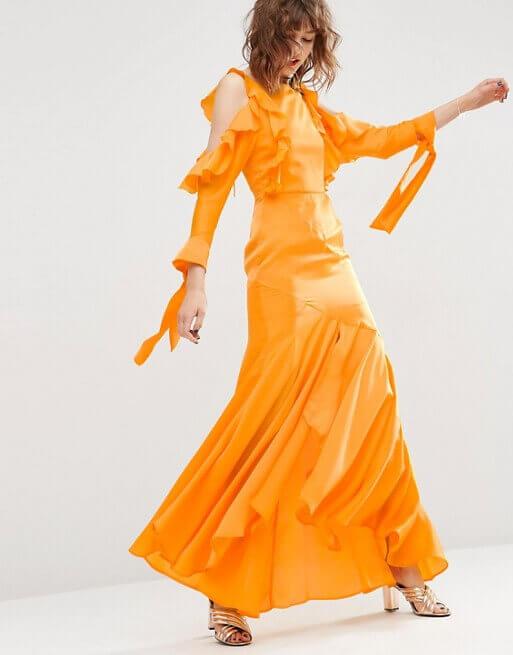 asos mustard long dress like Beyonce