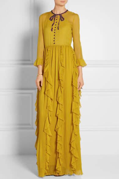 Gucci chiffon dress mustard net-a-porter