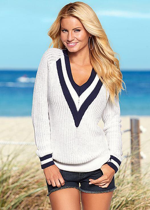 V neck tennis sweater