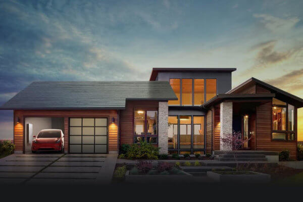 Tesla solar roof house, tesla electric car and tesla powerstation
