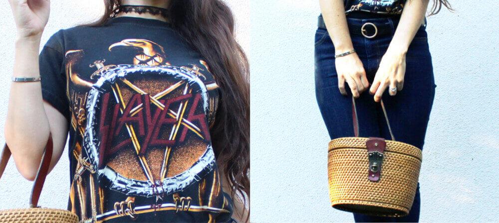 Slayer T-shirt and vintage straw bag details