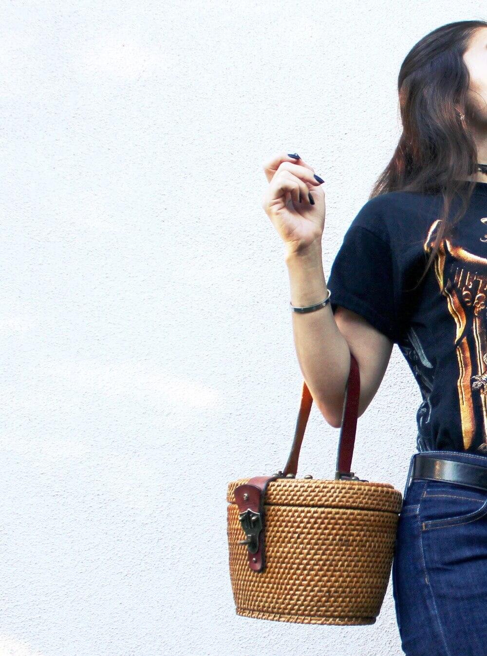 old Salyer vintage t-shirt and vintage Etienne Aigner straw bag