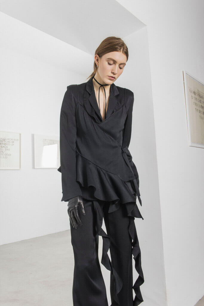 All black suit with leather gloves and a choker Each x Other Pre Fall 2017