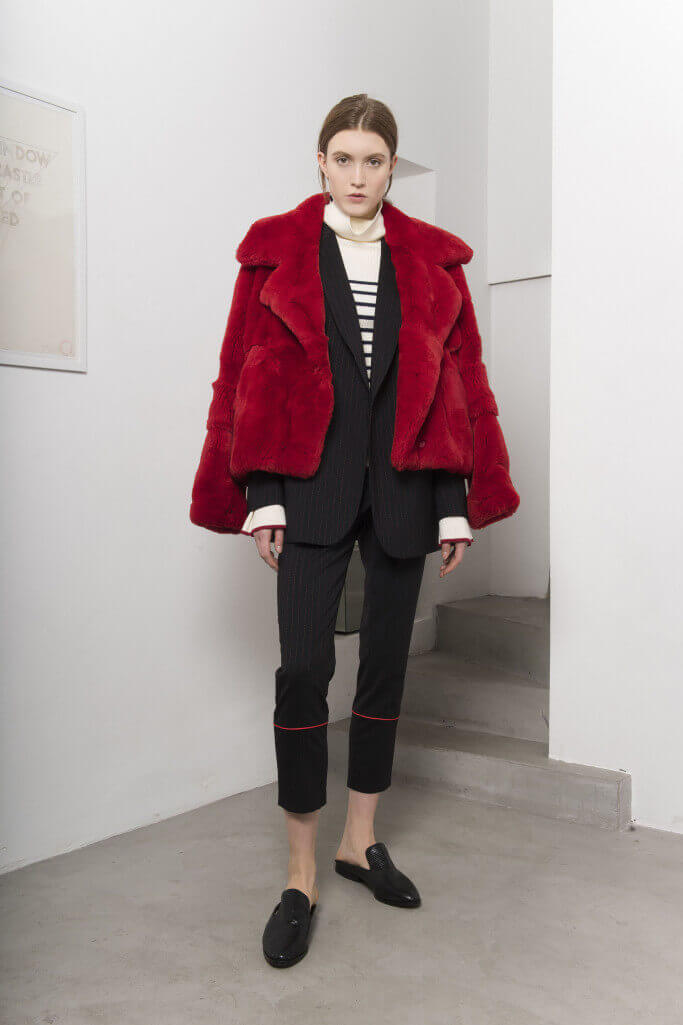 Red fur jacket Each x Other Pre Fall 2017
