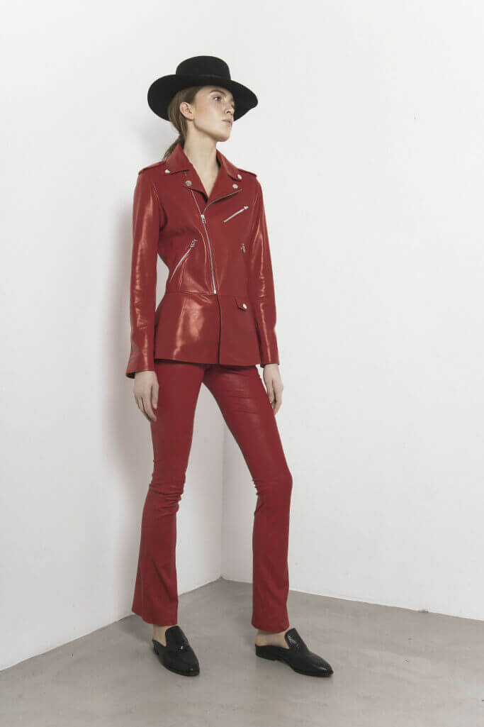 Red leather pantsuit Each x Other Pre Fall 2017