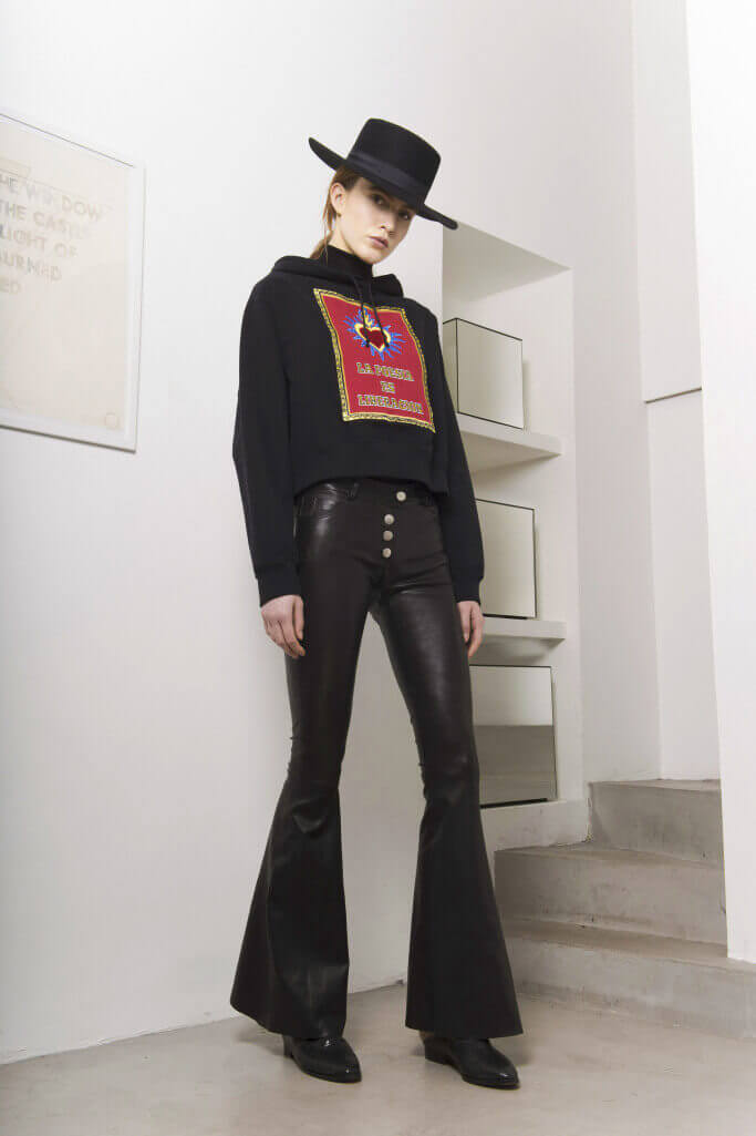 Leather Bell bottoms and cropped hoodie Each x Other Pre Fall 2017