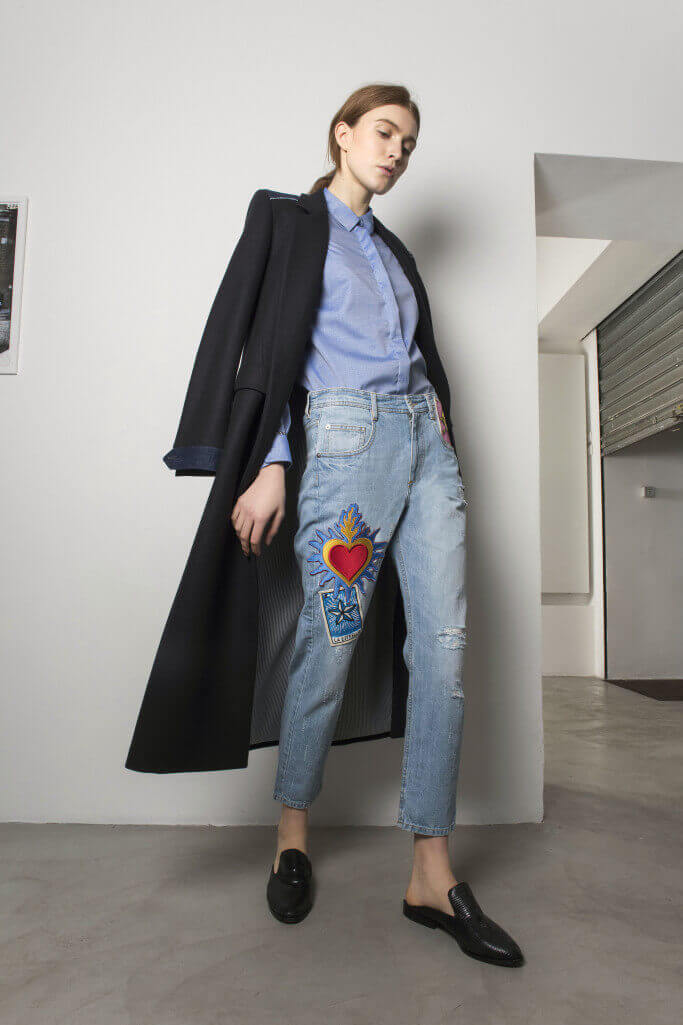 Jeans with iron-on patch and long coat Each x Other Pre Fall 2017