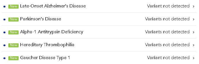 23andMe genetic health risk reports: Late-Onset Alzheimer's Disease, Parkinson's Disease, Alpha-1 Antitrypsin Deficiency, Hereditary Thrombophilia