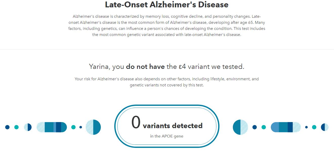 Alzheimer's Disease 23andme carrier report