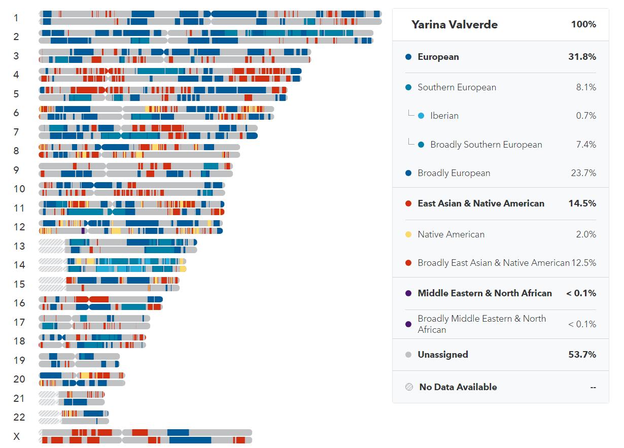Ancestry breakdown in detail from 23andMe