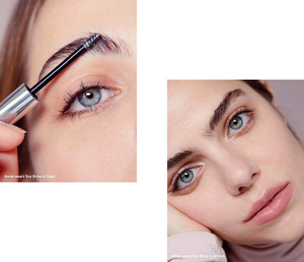 Boy brow gel to achieve a thicker darker eyebrow or bushy brows. fluffer, filler, and shaper. alcohol free, fragrance free, paraben free, cruelty free, appropriate for all skin types, hypoallergenic, ophthalmologist tested, dermatologist tested