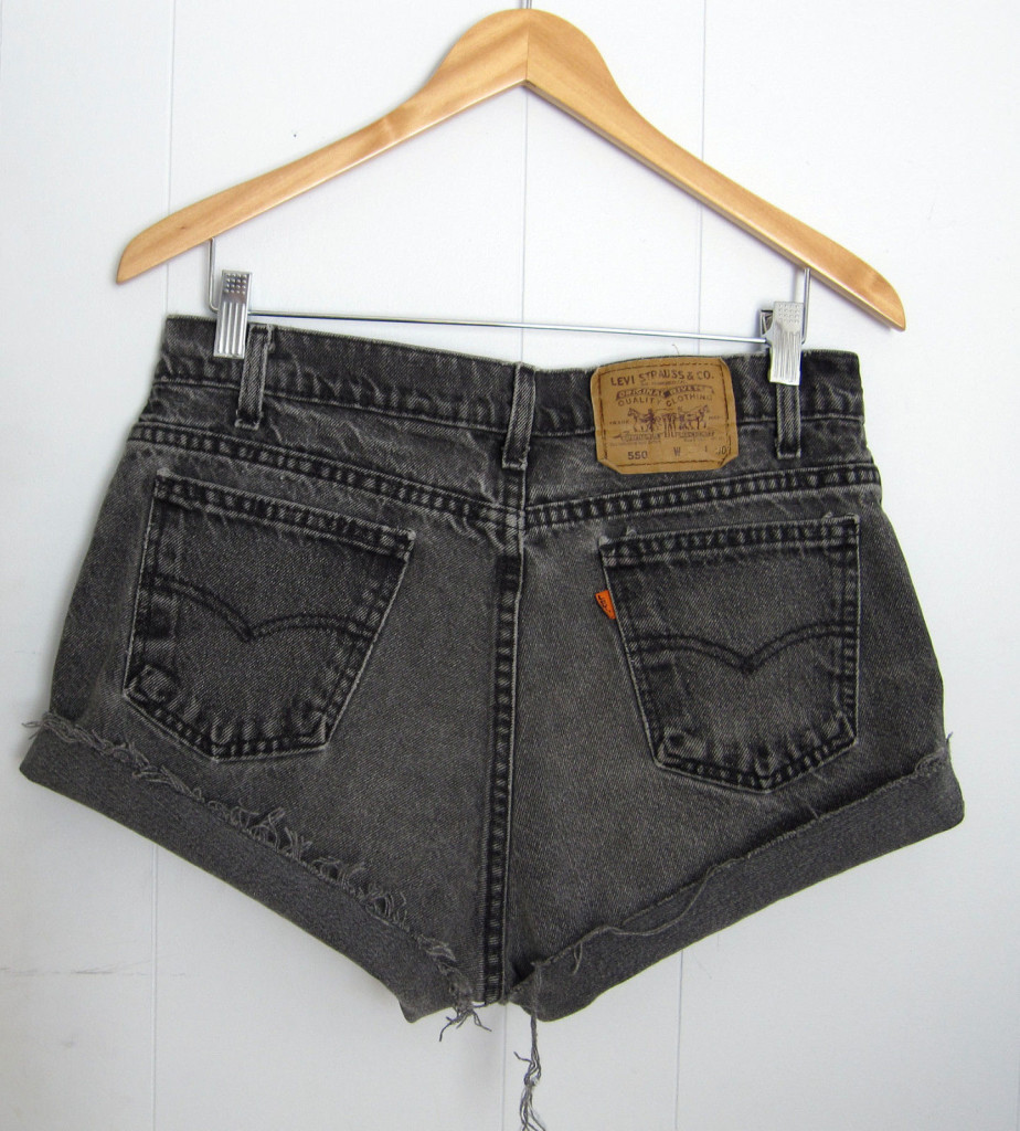 Levi's Faded Black High Waisted Cut Off Denim Shorts