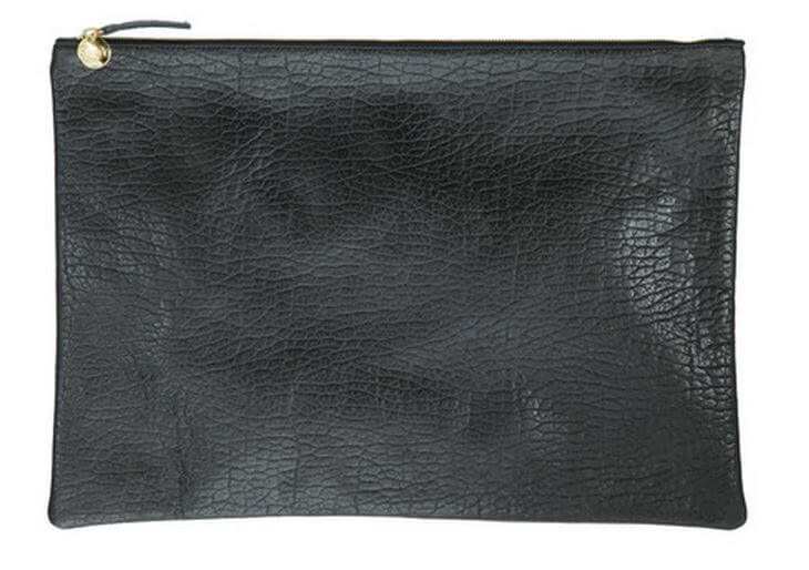 Clare V leather goods made in USA | Oversize clutch in black