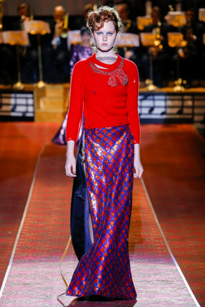 Marc Jacobs SS16 runway sweater and long skirt