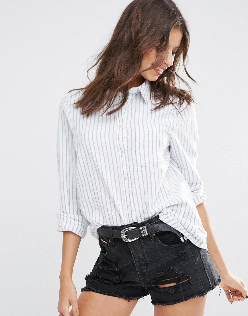 ASOS Boyfriend Shirt with Blue Stripe