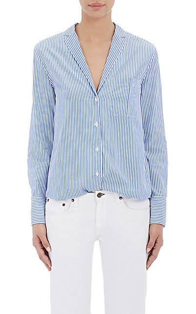 Rag Bone Ryder Shirt, white and blue long sleeve striped shirt