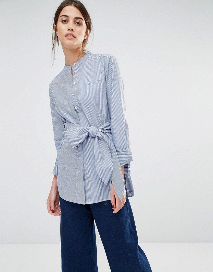 Whistles Lara Collarless Shirt in Pinstripe