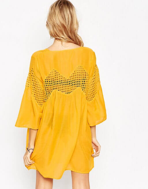 asos mustard beach dress
