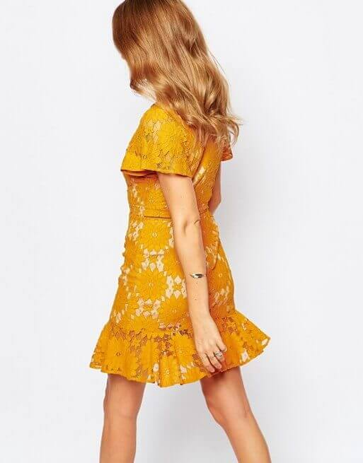 asos mustard lace dress