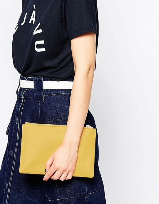 asos mustard leather wristlet