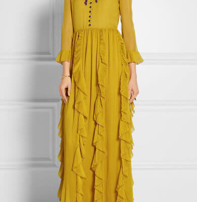 Gucci chiffon dress mustard net-a-porter