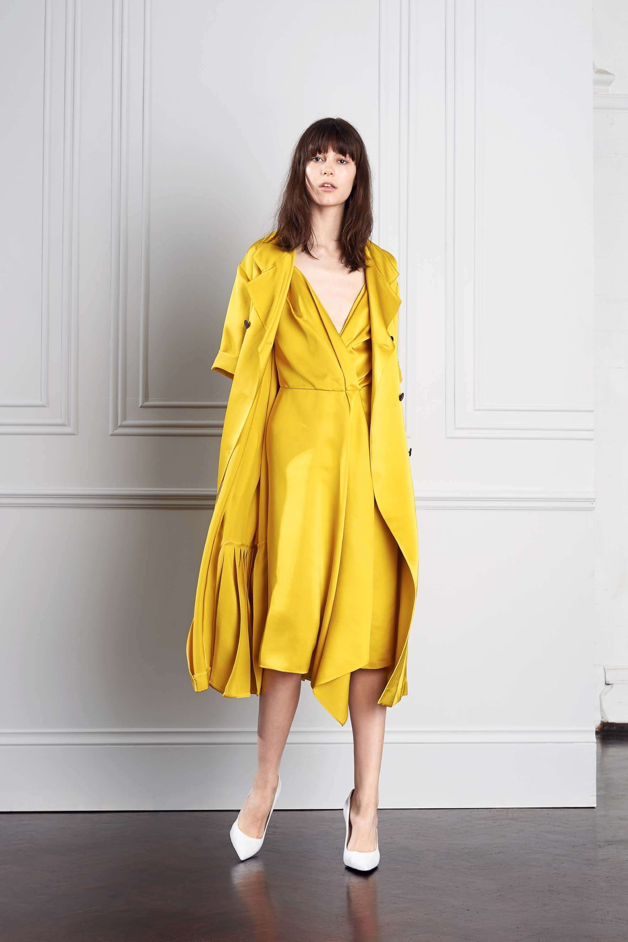 Victoria Beckham fall bridal 2017 mustard dress
