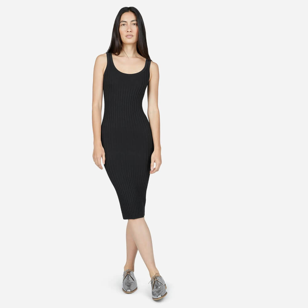 The E2 Ribbed Tank Dress, an ethically made knit dress