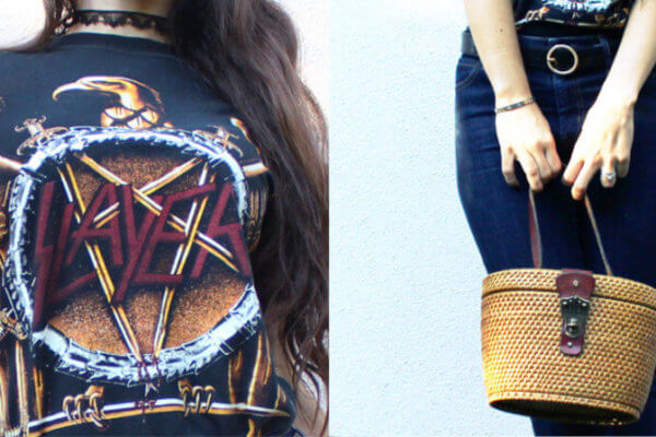 Slayer T-shirt and vintage straw bag details