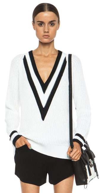 Iconic 'talia' V-neck Varsity Tennis Cotton Sweater