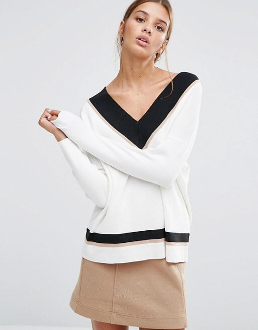 New Look Contrast V Neck Sweater