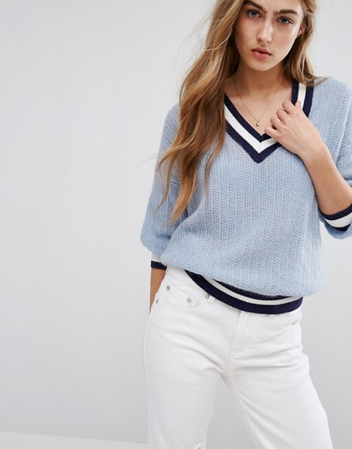 Tommy Hilfiger V Neck Knit Sweater with Tipping