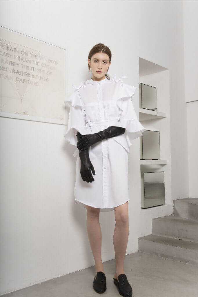 Black leather gloves and white shirt dress Each x Other Pre Fall 2017