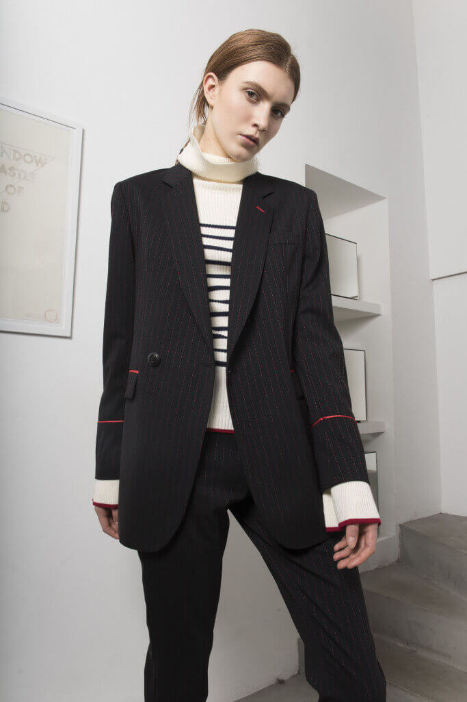 Each x Other Pre Fall 2017 Pinstripe suit and striped sweater