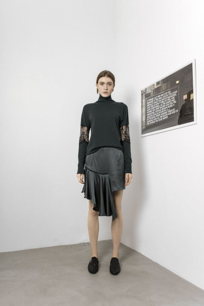 Asymmetric skirt and black turtleneck with lace details Each x Other Pre Fall 2017