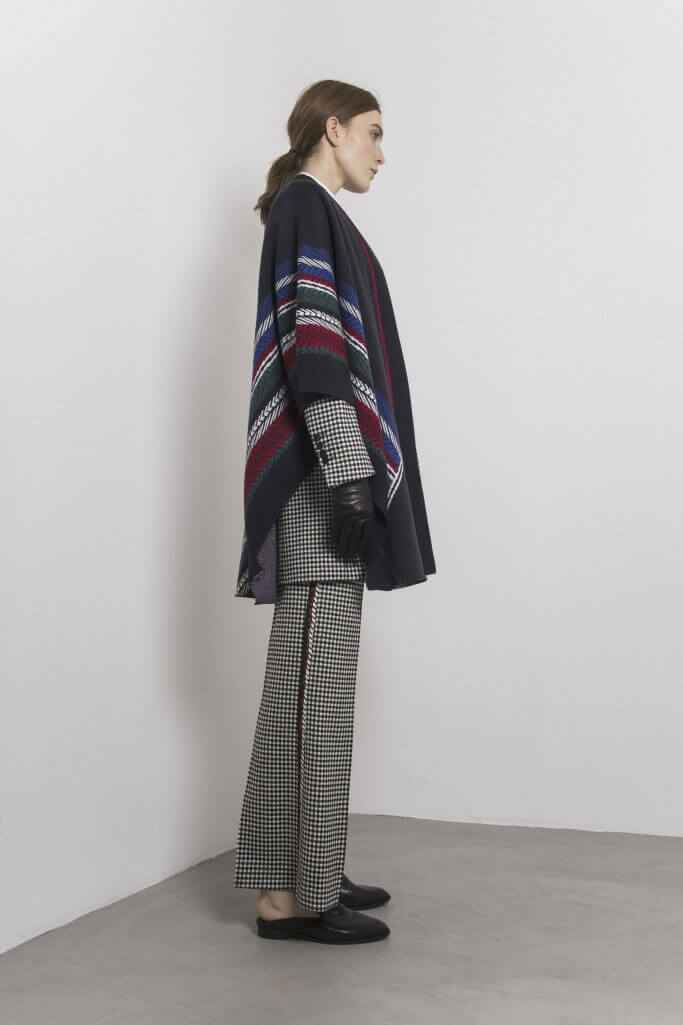Poncho and check pattern suit Each x Other Pre Fall 2017