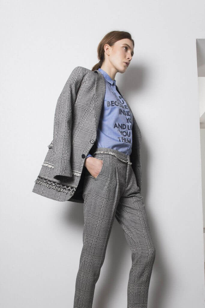 Full check pattern women's suit with t-shirt Each x Other Pre Fall 2017