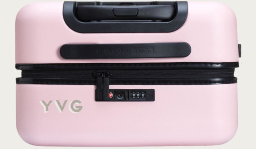 away monogrammed pink suitcase