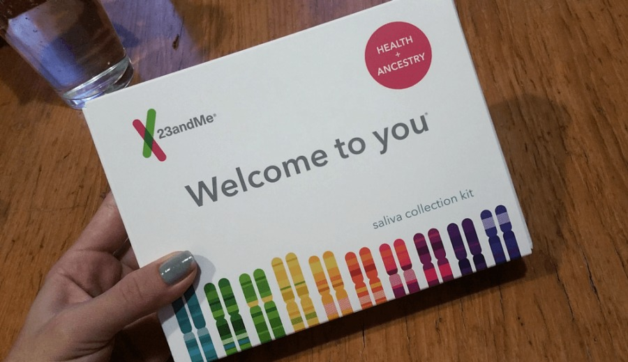 23andMe saliva collection kit. This is the box that you get in the mail once you sign up to get your ancestry and health reports from 23andMe.com