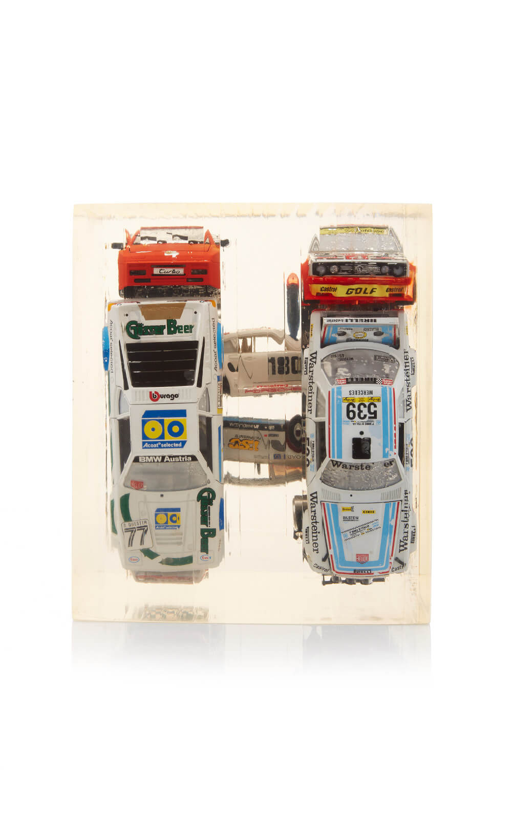 Massive Lucite Cube With Embedded Race Cars Antique