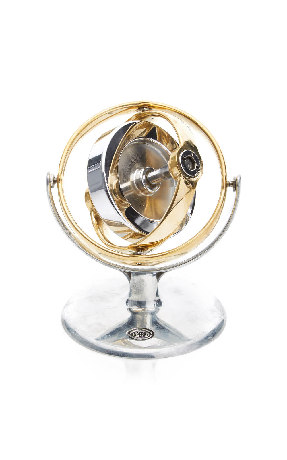 Polished Aluminum And Brass Gyroscope - Mantiques Modern