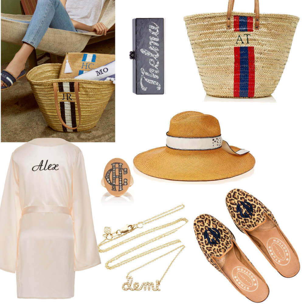 Monogram basket bags from rae feather. Eddie Parker monogram clutch, monogram robe, monogram shoes, monogram hat and name necklace