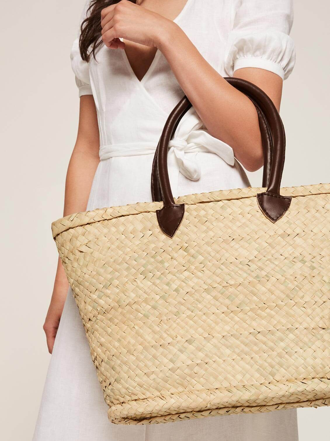 Reformation straw tote bag