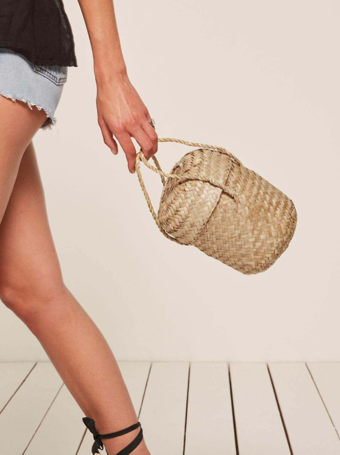 Reformation straw bag, similar to Jane Birkin's