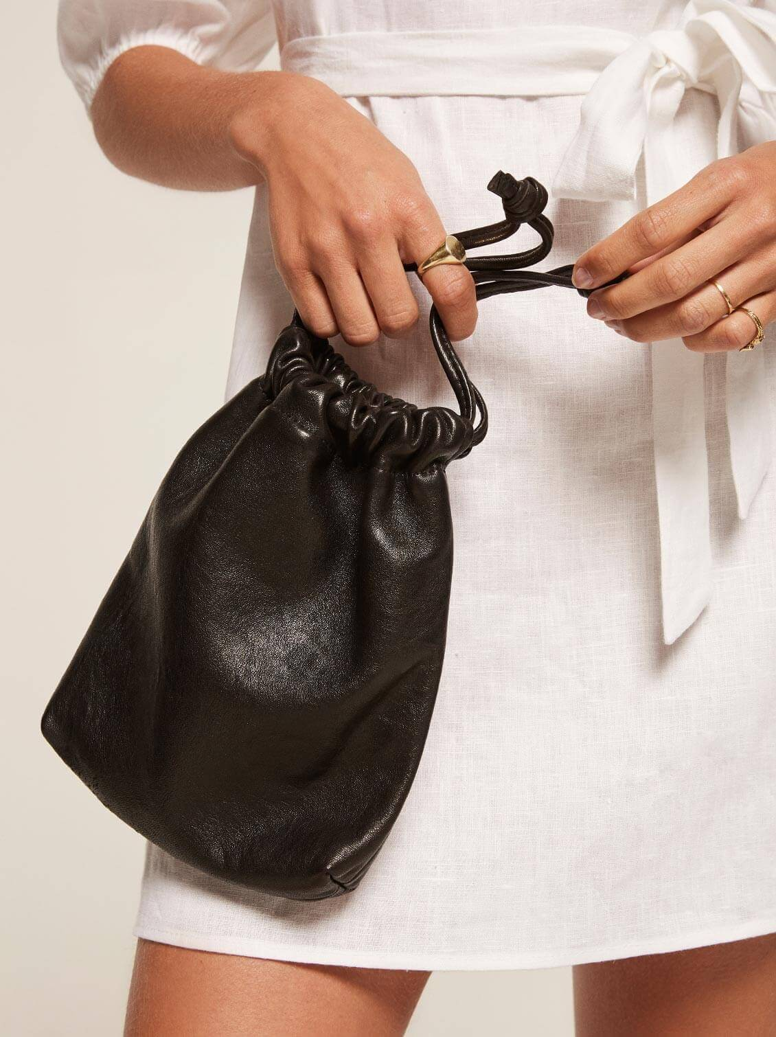 reformation black minimal pouch