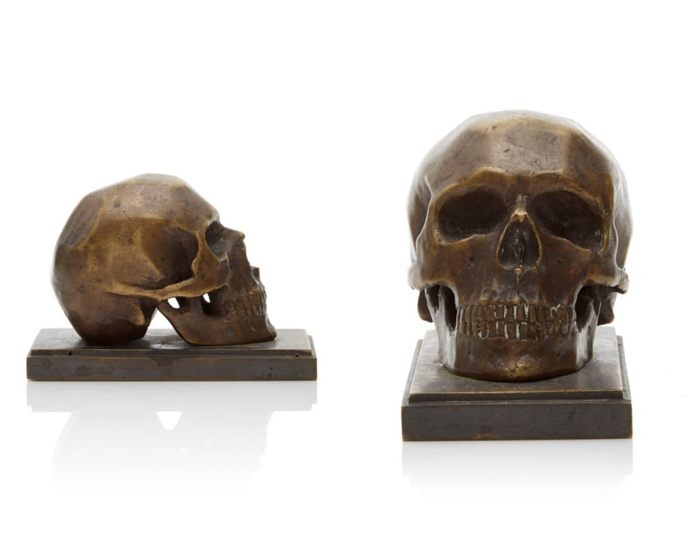 Bronze Skull Sculpture Antique